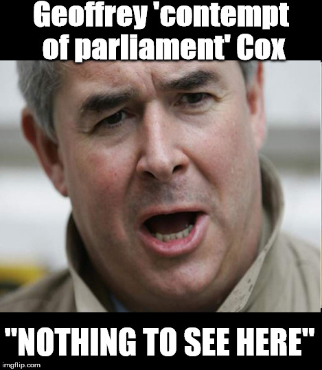 geoffrey contempt of parliament cox